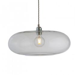 Luminaire verre soufflé Horizon Transparent, diamètre 45 cm, Ebb & Flow, douille et câble argentés