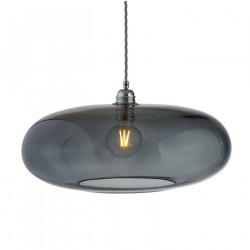 Luminaire verre soufflé Horizon Gris fumé, diamètre 45 cm, Ebb & Flow, douille et câble argentés