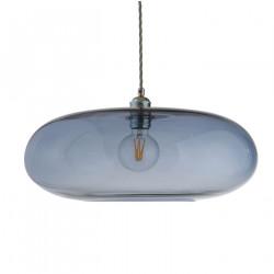 Luminaire verre soufflé Horizon Bleu Abysse, diamètre 45 cm, Ebb & Flow, douille et câble argentés