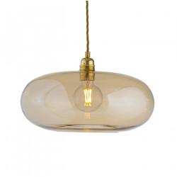 Luminaire suspension verre soufflé Horizon Doré fumé, diamètre 36 cm, Ebb & Flow, douille et câble dorés