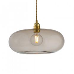 Luminaire suspension verre soufflé Horizon Marron glacé, diamètre 36 cm, Ebb & Flow, douille et câble dorés