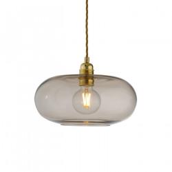 Suspension verre soufflé design Horizon Marron glacé, diamètre 29 cm, Ebb & Flow, douille et câble dorés