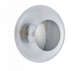 Plafonnier verre soufflé Horizon Transparent, diamètre 36 cm, Ebb & Flow, centre métal argenté