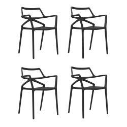 Lot de 4 chaises Delta, Vondom noir
