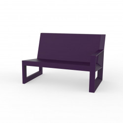 Module gauche pour salon de jardin design Frame, Vondom prune avec coussins en tissu Silvertex