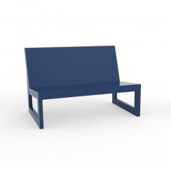 Module central pour salon de jardin design Frame, Vondom navy avec coussins en tissu Silvertex