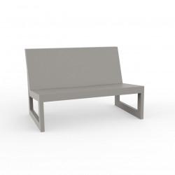 Module central pour salon de jardin design Frame, Vondom taupe avec coussins en tissu Silvertex