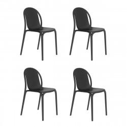 Lot de 4 chaises Brooklyn, Vondom Noir