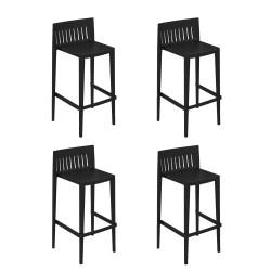 Lot de 4 tabourets hauts Spritz, hauteur d'assise 76cm, Vondom noir