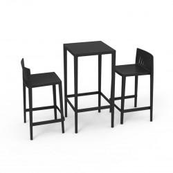 Set Spritz table et 2 tabourets, hauteur d'assise 66cm, Vondom noir