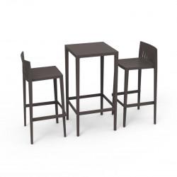 Set Spritz table et 2 tabourets, hauteur d'assise 76cm, Vondom bronze