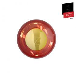 Applique et plafonnier bulle de verre soufflé Horizon Rouge Rubis, diamètre 21 cm, Ebb & Flow, centre métal doré