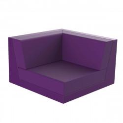 Canapé outdoor modulable Pixel, module gauche, Vondom, tissu Silvertex Violet Prune