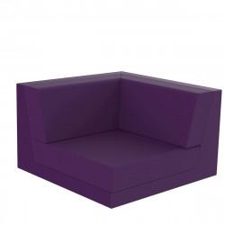 Canapé composable outdoor Pixel, module d'angle, Vondom, tissu Silvertex Violet Prune