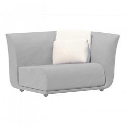 Canapé extérieur design Suave, module gauche, Vondom, tissu déperlant blanc Iceberg 1037