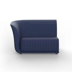 Canapé extérieur design Suave, module droit, Vondom, tissu déperlant bleu Outre-Mer 1002