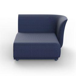 Salon d'été Suave, module chaise longue gauche, Vondom, tissu déperlant bleu Outre-Mer 1002