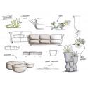 Ensemble canapé outdoor 2 places Suave, Vondom, tissu déperlant blanc Snow 1041