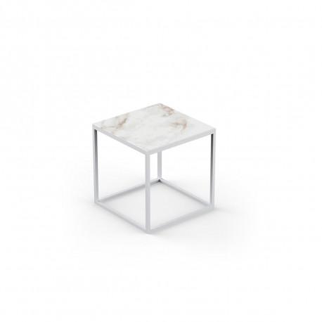 Table basse carrée contemporaine Suave 40x40xH40cm, Vondom, Dekton Entzo blanc et pieds blancs