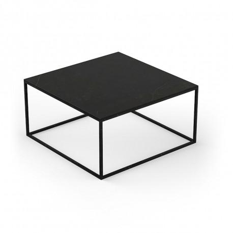 Table basse carrée Suave 80x80xH40cm, Vondom, Dekton Kelya noir et pieds noirs