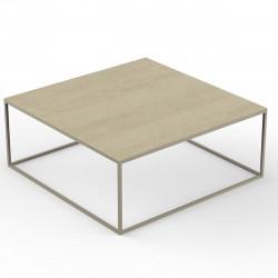 Table basse design carrée Suave 100x100xH40cm, Vondom, Dekton Danae écru et pieds écru