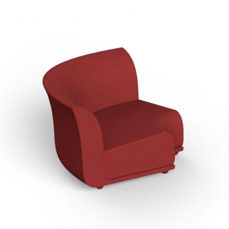 Canapé extérieur design Suave, module d'angle, Vondom, tissu déperlant rouge Grenade 1046
