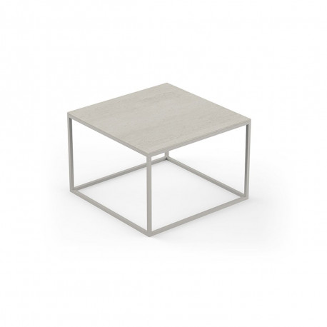 Table basse design Pixel 60x60xH25cm, Vondom, Dekton Danae écru et pieds écru