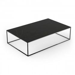 Table basse design rectangulaire Pixel 160x100xH25cm, Vondom, Dekton Kelya noir et pieds noirs