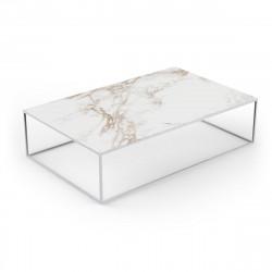 Table basse design rectangulaire Pixel 160x100xH25cm, Vondom, Dekton Entzo blanc et pieds blancs