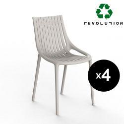 Lot de 4 Chaises Ibiza Revolution® à barreaux en plastique recyclé, Vondom beige Cala 4021