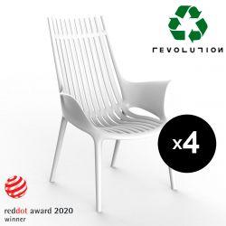 Lot de 4 Fauteuils lounge en plastique recyclé Ibiza Revolution®, Vondom blanc Milos 4023