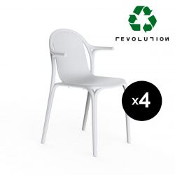 Lot de 4 fauteuils Brooklyn Revolution® en plastique recyclé, Vondom blanc Milos 4023