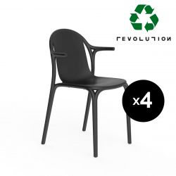 Lot de 4 fauteuils Brooklyn Revolution® en plastique recyclé, Vondom Noir Manta 4022