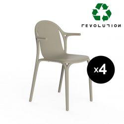 Lot de 4 fauteuils Brooklyn Revolution® en plastique recyclé, Vondom beige Cala 4021