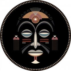Tapis vinyle rond, masque africain homme, diamètre 145cm, collection Baba Souk, Pôdevache