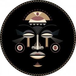 Tapis vinyle rond, masque africain femme, diamètre 198cm, collection Baba Souk, Pôdevache