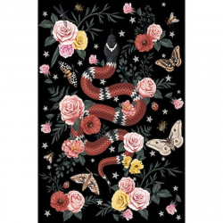 Tapis vinyle serpent fond noir rectangulaire, 139x198cm, collection Tattoo Compris, Pôdevache