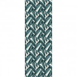 Tapis vinyle Feuilles Bleues rectangulaire, 95x300cm, collection Tropicalisme, Pôdevache