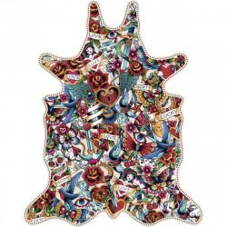 Tapis mélange de tatouages XL, vinyle forme peau de bête, 148x187cm, collection Tattoo Compris, Pôdevache