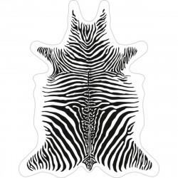 Tapis Zèbre fond blanc XXL, vinyle forme peau de bête, 198x250cm, collection Baba Souk, Pôdevache