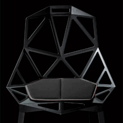 Lot de 2 coussins pour chaise One, Magis, Cuir noir