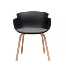 Chaise bois Bai avec coussin d'assise en tissu Era Present, Ondarreta, Noir
