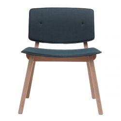 Chaise lounge rétro Mikado, structure en bois et assise tissu Steelcut bleu-gris, Ondarreta
