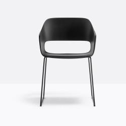 Lot de 4 chaises Babila 2745, noire, pieds acier noir, Pedrali