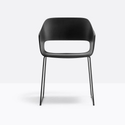 Lot de 4 fauteuils Babila 2745 noir, pieds traineau acier noir, Pedrali