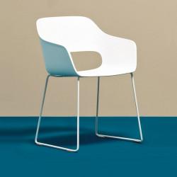 Lot de 4 fauteuils Babila 2745 blanc, pieds traineau acier blanc, Pedrali