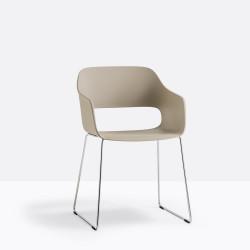 Lot de 4 fauteuils Babila 2745 sable, pieds traineau acier chromé, Pedrali