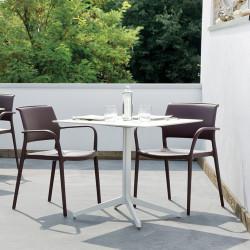Table carré Ypsilon, plateau laminé blanc, Pedrali, H74xL89xl89