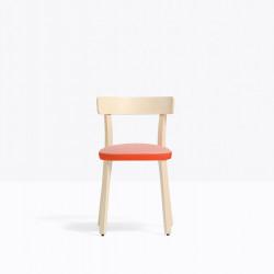 Lot de 2 chaises Folk 2940, frêne clair, détail orange, tissu rose, Pedrali, H75xL45xl44.5