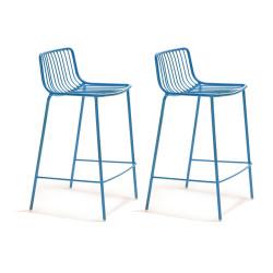 Lot de 2 Tabourets hauts métal filaire Nolita 3657, Pedrali bleu, hauteur d'assise 65 cm